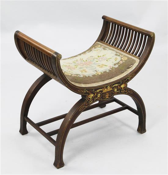 An Edwardian marquetry inlaid mahogany dressing stool, W.1ft 10in.