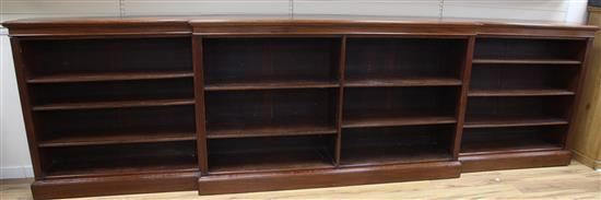A large late Victorian mahogany breakfront open bookcase, W.14ft D.1ft 5in. H.4ft