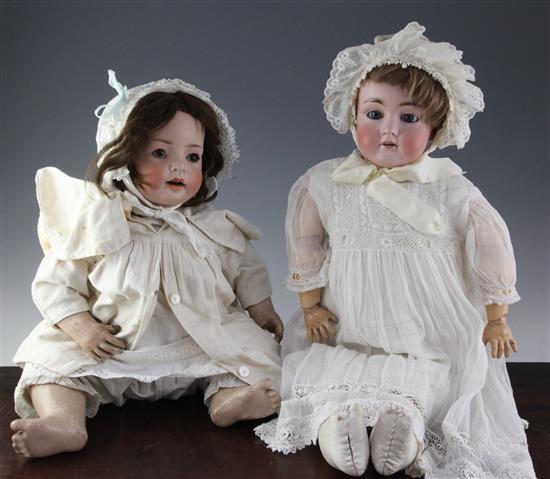 A Simon & Halbig No.7 Hanna bisque head doll & a similar doll
