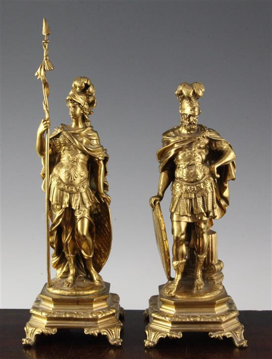 A pair of 19th century French ormolu figures of Mars and Minerva, largest 14in.