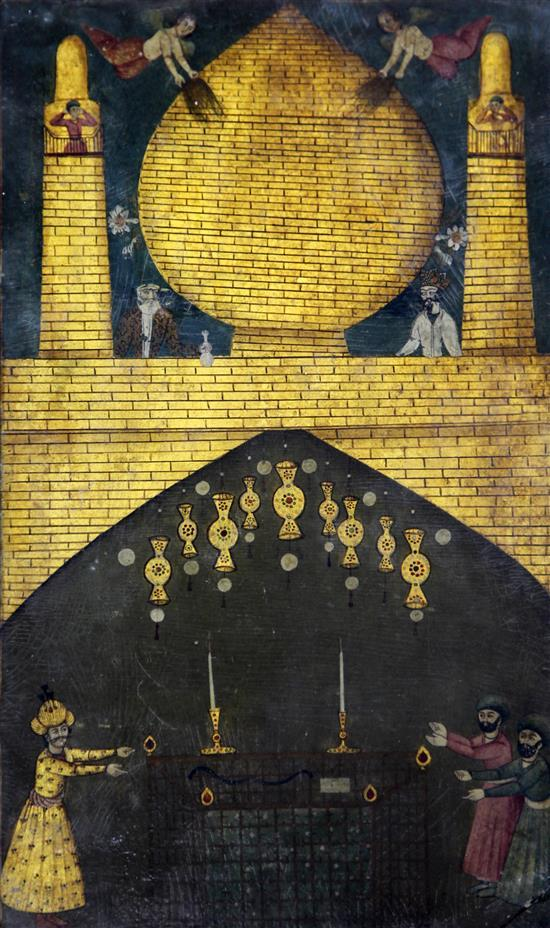 A Persian lacquerwork painting of figures at a Golden Mosque, Qajar, 19th century, 17.75 x 11in.