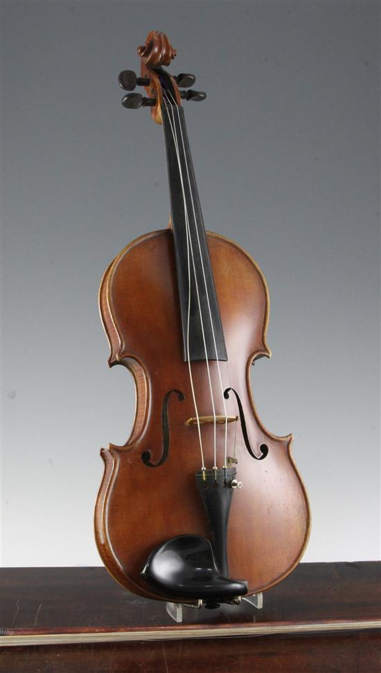 An English violin made by Arthur L. Scholes of Bedford, 23.5in., cased with two bows