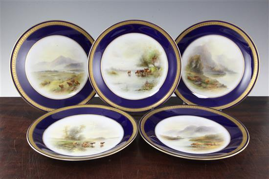 A set of five Royal Worcester 'Highland Cattle' dessert plates, painted by H & J Stinton, 9in.
