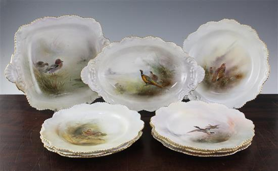 A Royal Worcester game bird painted composed nine piece dessert service, painted by James Stinton, largest dish 12.3in.