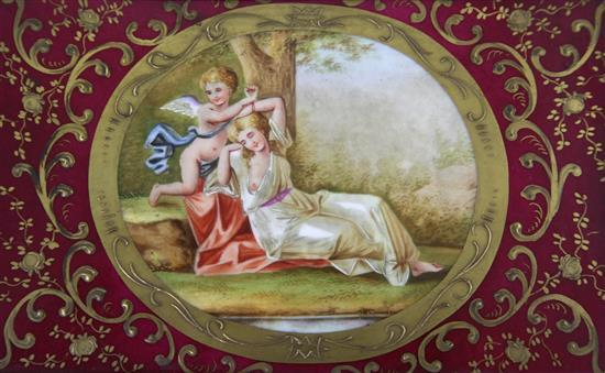 A pair of Vienna style porcelain plaques, late 19th century, overall 9.5 x 12.25in.