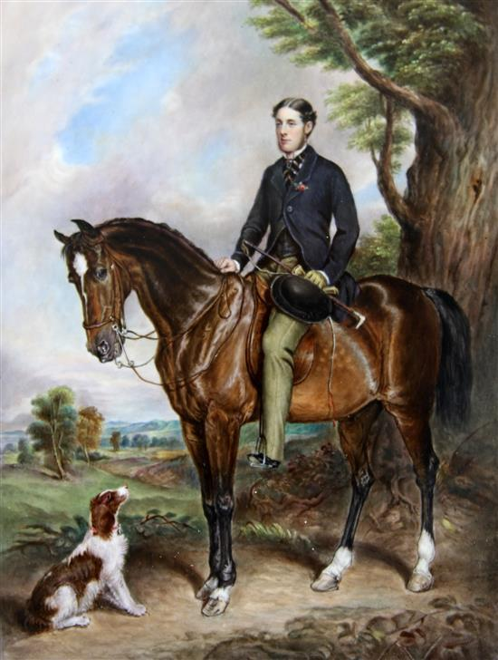 An English porcelain equestrian portrait plaque of Seymour Sydney Hyde, painted by J. Simpson, c.1869, overall 14 x 12.5in.