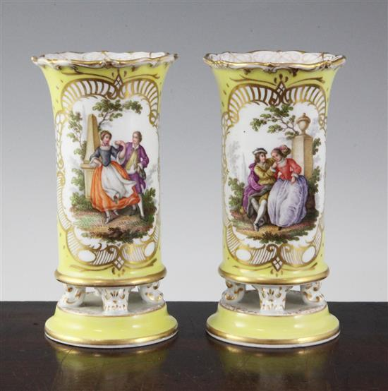 A pair of Meissen spill vases, late 19th century, 5.5in.