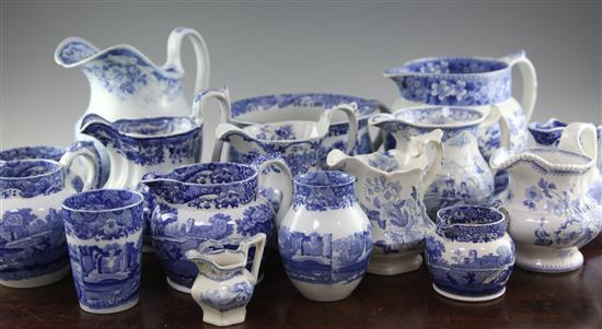 A group of Copeland Spode Italian pattern blue and white wares, 20th century, tallest 9in. (16)