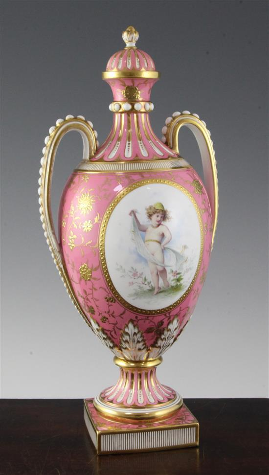 Antoine Boullemier for Mintons, a twin handled pink ground vase and cover, late 19th century, 33.5cm, one handle restored