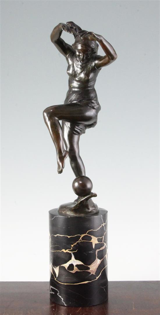Etienne Forestier. A bronze figure of Isadora Duncan, 18.5in.
