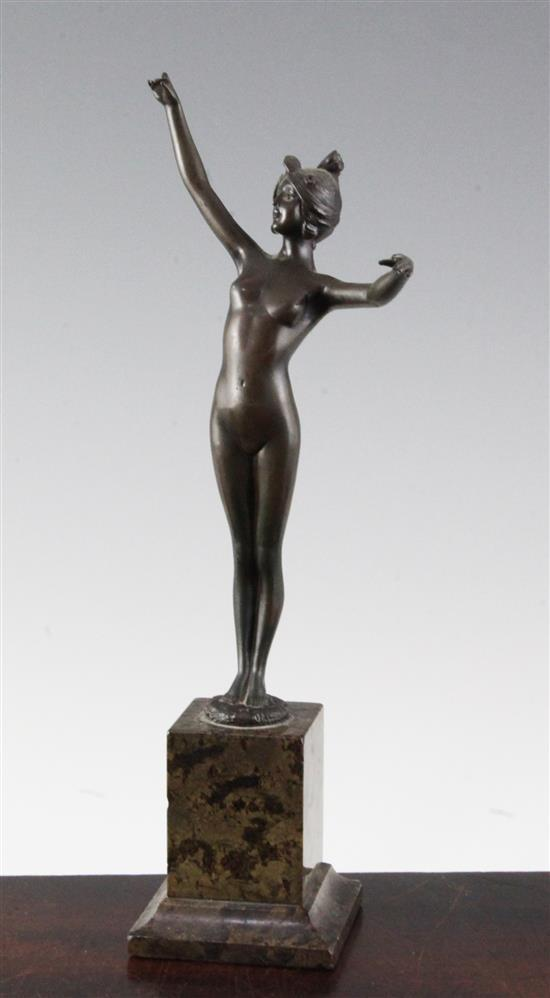 An Art Nouveau bronze figure of a standing female nude, 11in.