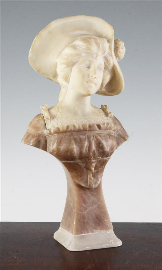 An Art Nouveau carved two colour alabaster bust of a young lady wearing a bonnet, 12in.
