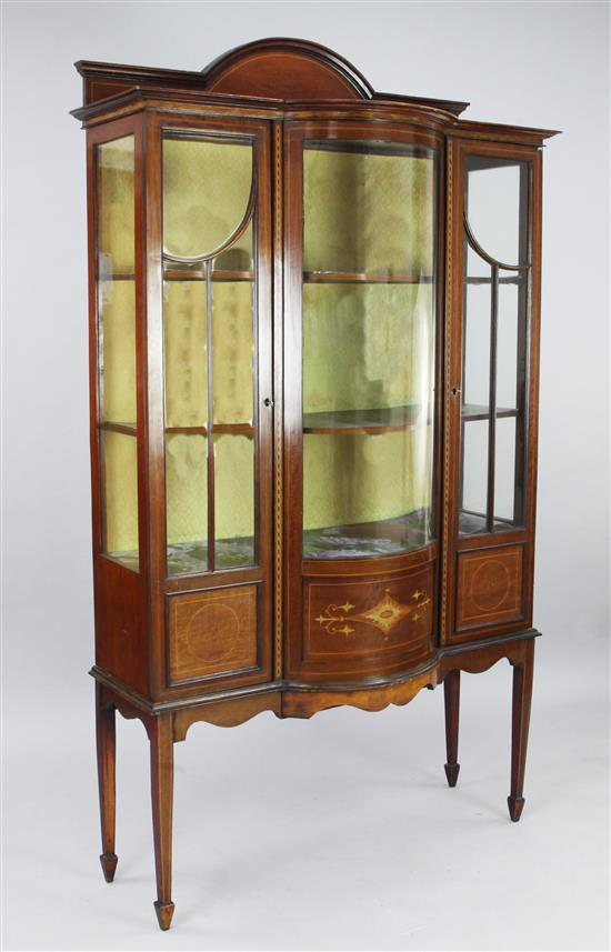 An Edwardian inlaid mahogany display cabinet, W.3ft 9in. D.1ft 6in. H.6ft 6in.