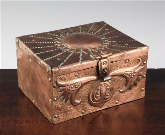 John Pearson. An Arts & Crafts copper casket, 7in.