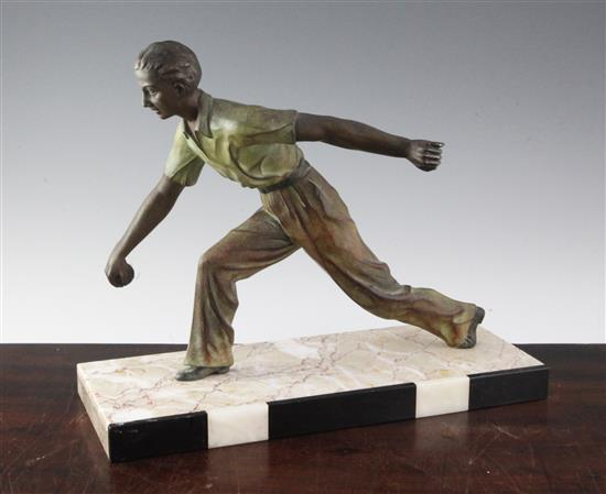 A French Art Deco bronzed spelter figure of a boules player, 15in.