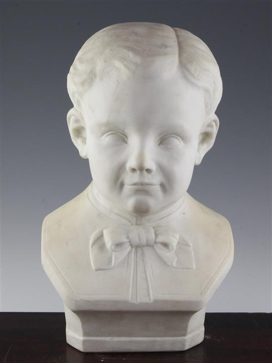 A French carved white marble bust of a boy, c.1900, 15in.