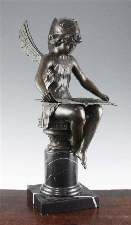 Charron. A bronze figure of a seated nymph reading a book, 19.5in.