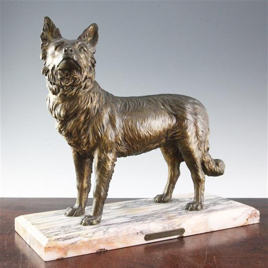 Chiparus. A 1930's bronze model of standing Alsatian, 18in.