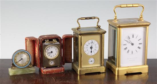 A Hamilton & Inches gilt brass carriage timepiece,
