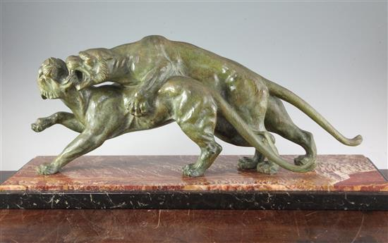 Salvatore Melani (1902-1934). An Art Deco bronze group of two tigers, W.31in. H.13in.