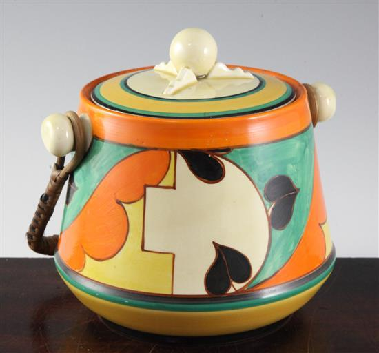 A Clarice Cliff 'Feather and Leaves' pattern biscuit barrel, height to finial 16.5cm (6.5in.)