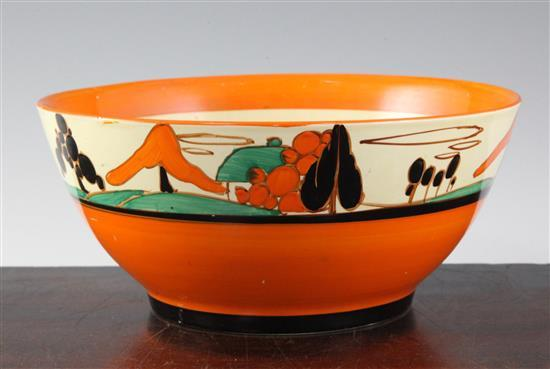 A Clarice Cliff house and trees pattern bowl, diameter 22cm (8.7in.)