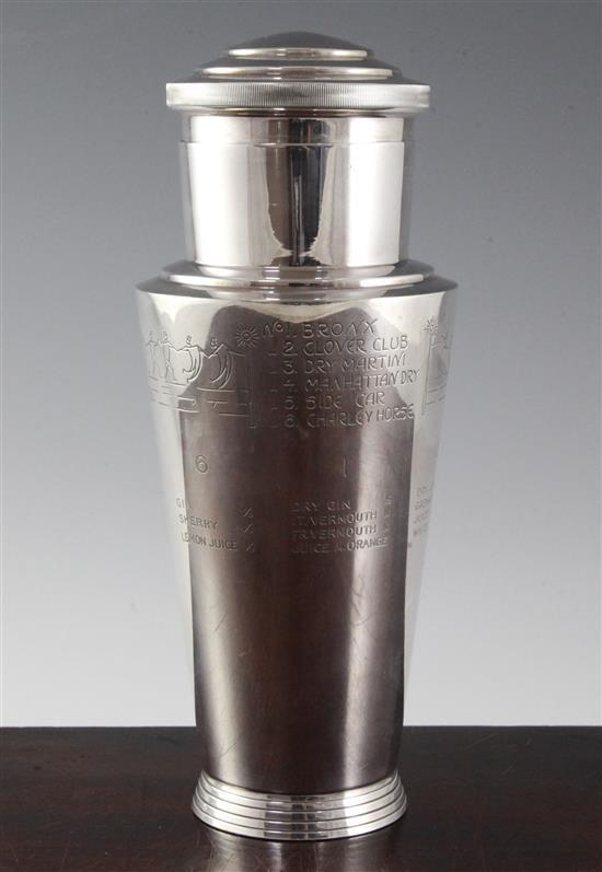 A Mappin & Webb Art Deco silver plated cocktail shaker, 9.5in.