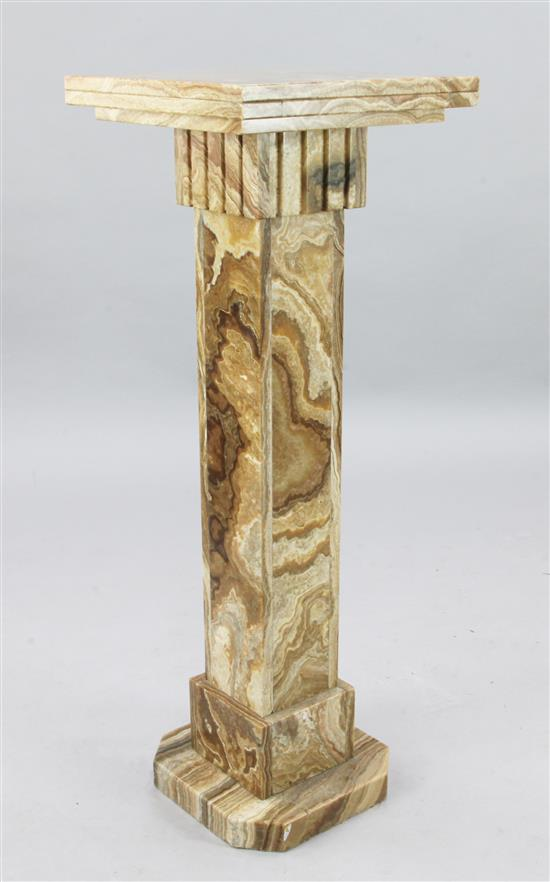 A 1930's exotic marble pedestal, W.1ft 4in. H.3ft 8in.