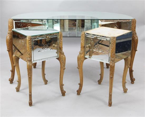 A 1930's mirrored walnut dressing table & pair cabinets