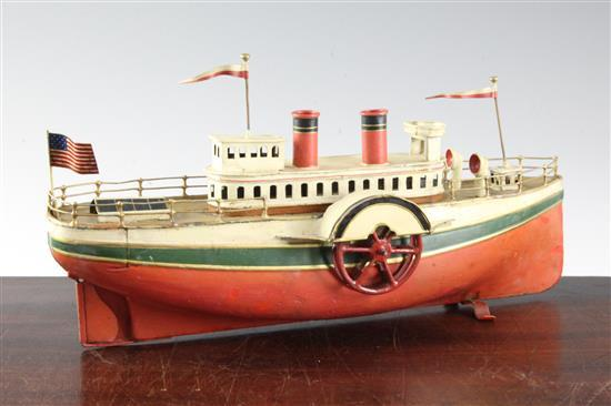 A Carette tinplate model of an American steamer, 14in.