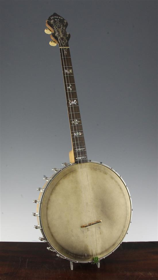 An Orpheum four string No.1 Tenor banjo by William Lange of New York, 30in.