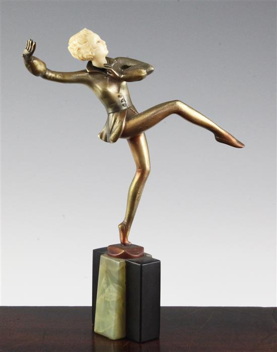 A Josef Lorenzl Art Deco bronze and ivory figure of a dancing girl 9.25in.