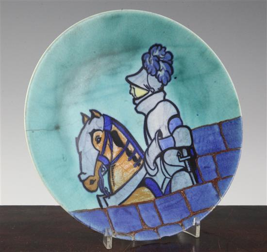 A Clarice Cliff Knight Errant pattern dish, 9in., faults