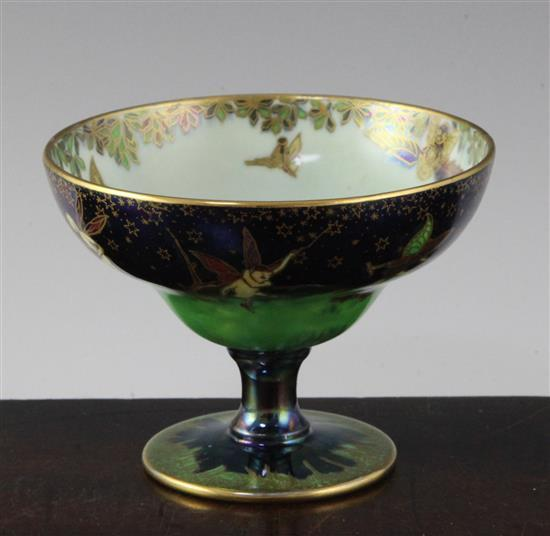 A Wedgwood Fairyland lustre 'Leap Frogging Elves' pedestal bowl, designed by Daisy Makeig-Jones, height 3.2in.