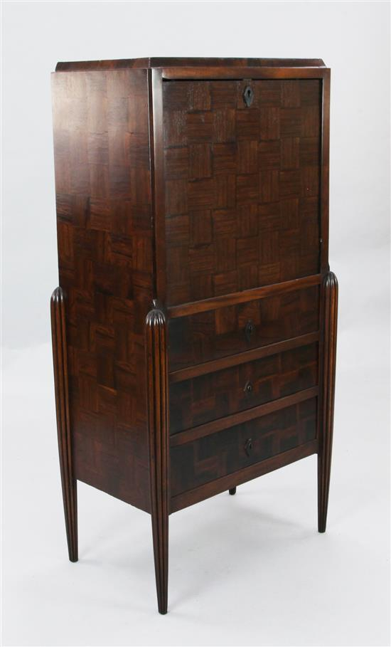 An Art Deco Continental rosewood secretaire à abbatant, W.2ft D.1ft 3in. H.4ft