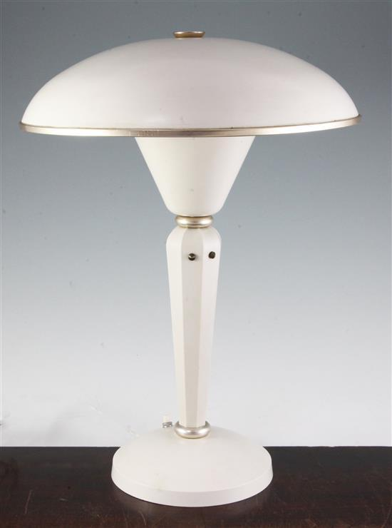 An Art Deco white bakelite desk lamp, 16.5in.