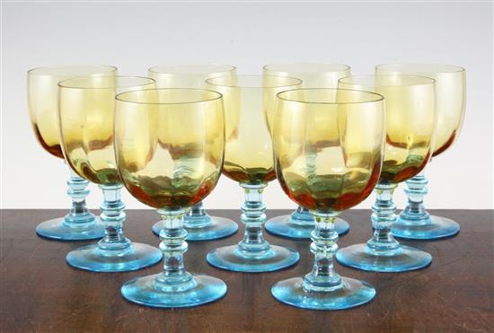 A set of nine Cristallerie de Portieux 'George Sand' amber and turquoise wine glasses, 14cm (5.5in.)