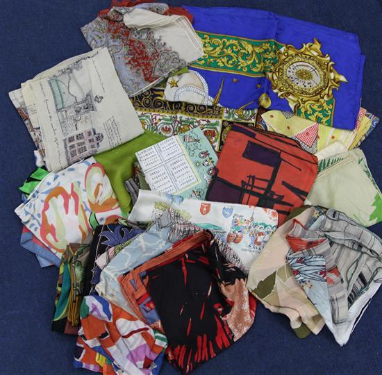 A collection of silk scarves,