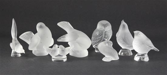 A group of eight Lalique Cristal bird paperweights / ornaments, modern, 7.75cm (2.9in.) - 12cm (4.72in.), some with boxes