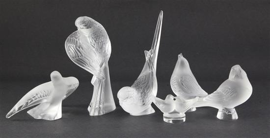 A group of six Lalique Cristal figures of birds, 7cm (2.75in.) - 16cm (6.25in.)