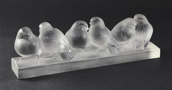 A Rene Lalique, ''Groupe de Six Moineaux'', No. 1218, clear and frosted glass, designed 1933, 30cm (11.75in.)