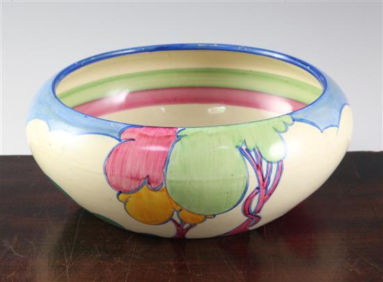 A Clarice Cliff 'Blue Autumn' shallow bowl, diameter 23cm (9in.)