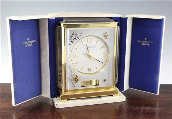 A Jaegar Le Coultre marina pattern Atmos clock, 9in., with travelling case