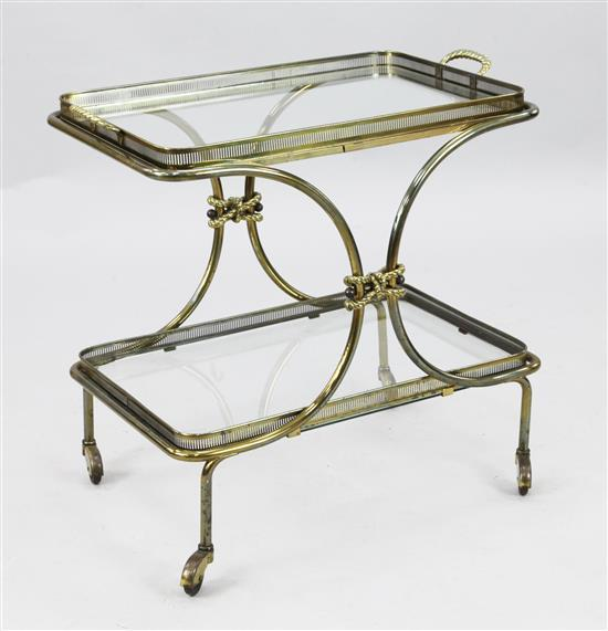 A Maison Bagues style brass and glass two tier trolley, W.2ft 3in. H.2ft 2in.