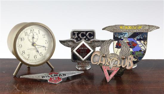 Automobilia: Three car badges - B.A.R.C., J.C.C., Austin Car Club 1926,
