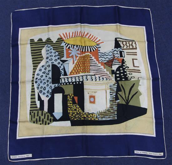 A S.P.A.D.E.M. of Paris Dessin de Picasso silk scarf, 30.5 x 29.75in.