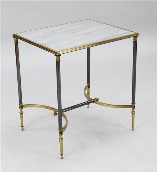 A mid 20th century steel and brass occasional table, by Janssen, W.1ft 8in. D.1ft 4in. H.1ft 10in.
