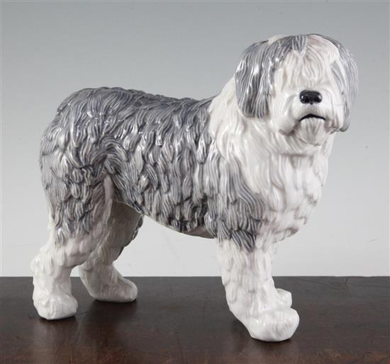 A Royal Copenhagen figure of an Old English sheep dog, height 8.2in.