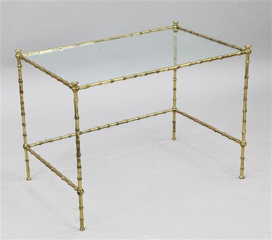 A Maison Bagues style brass coffee table, W.2ft 3in. D.1ft 6in. H.1ft 8in.