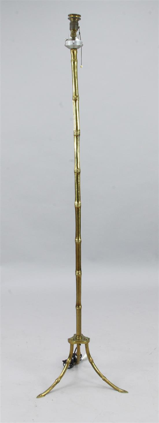 A Maison Bagues style brass lamp standard, H.5ft 5in.